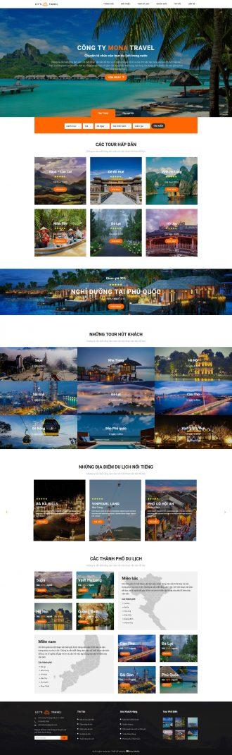 Mẫu website bán tour du lịch Let's Travel
