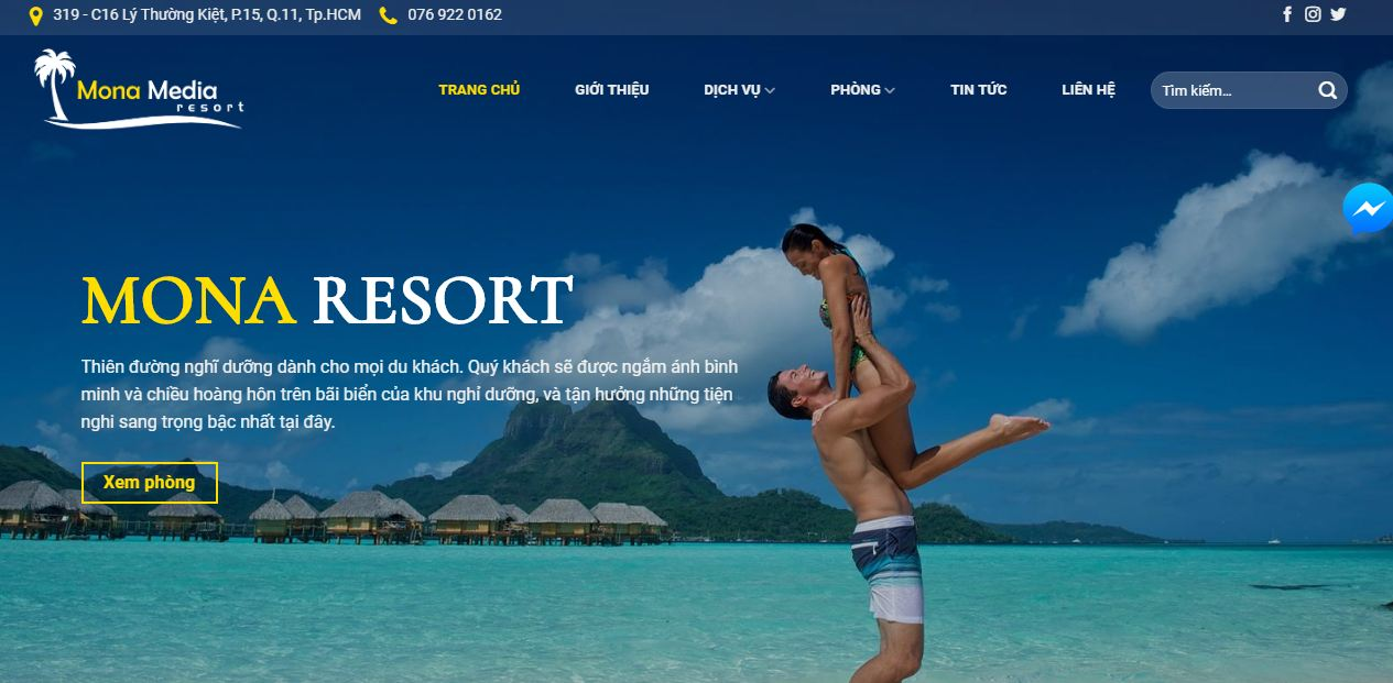 Dịch vụ thiết kế website nhà hàng - khách sạn - resort