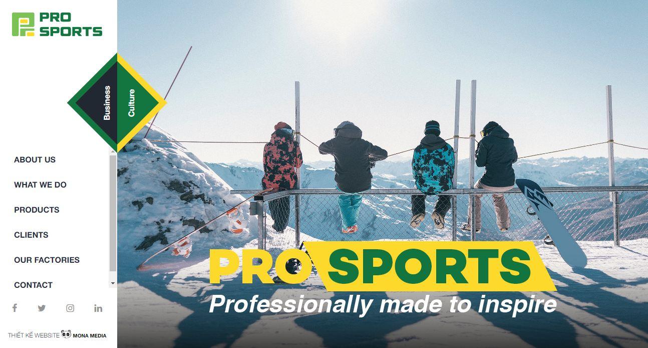 Mona Media thiết kế website cho Pro Sports
