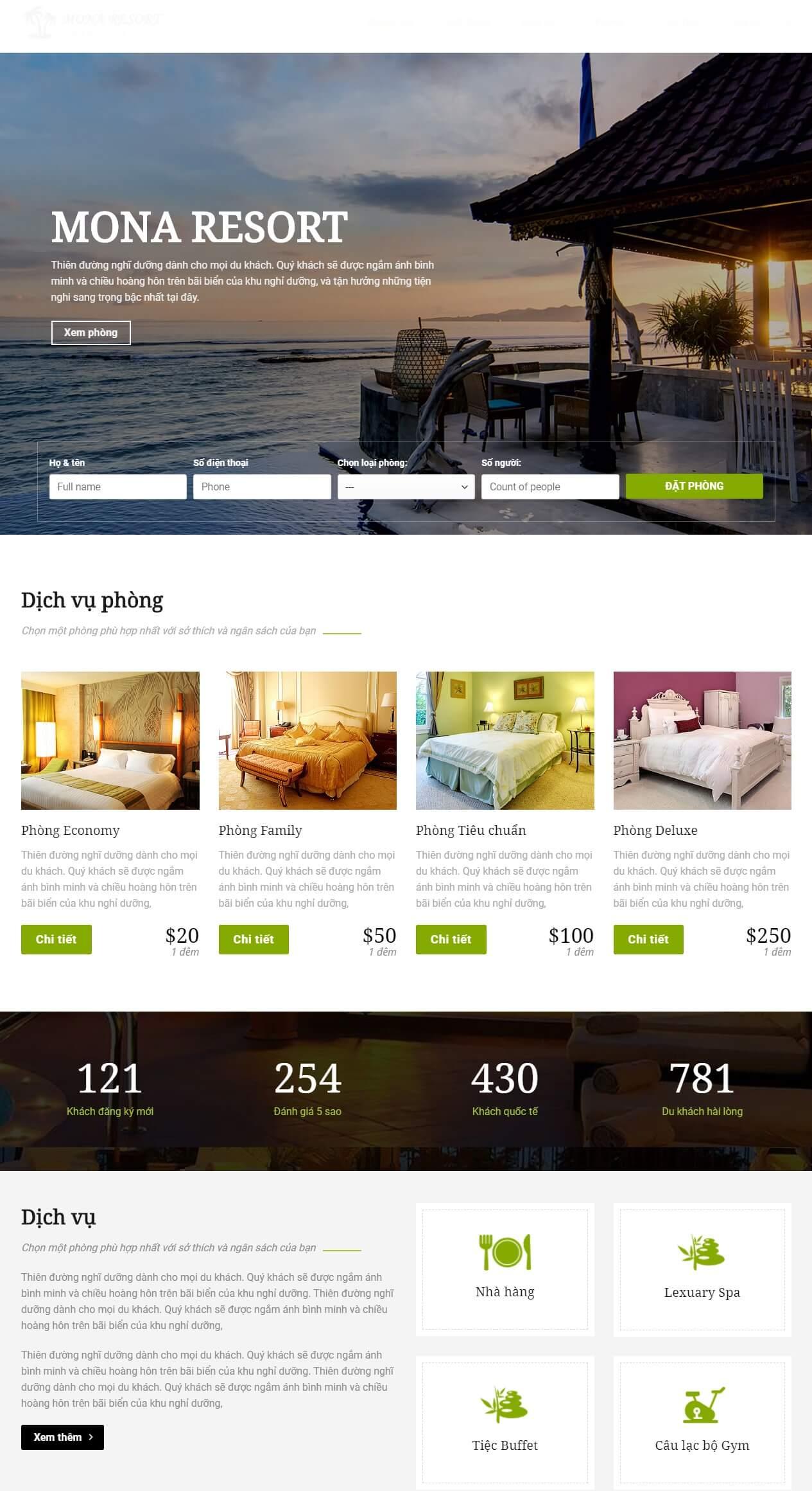 Thiết kế web resort - khách sạn