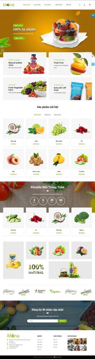 Mẫu website giống Cleverfood - bán thực phẩm sách và trái cây xanh