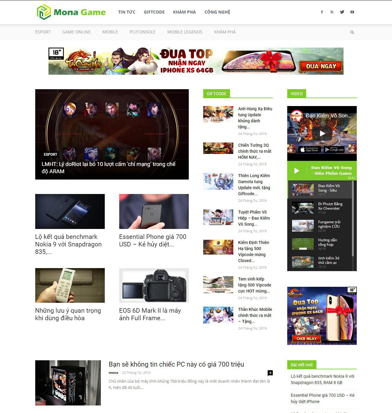 Thiết kế website tin tức Game8 tại Mona Media