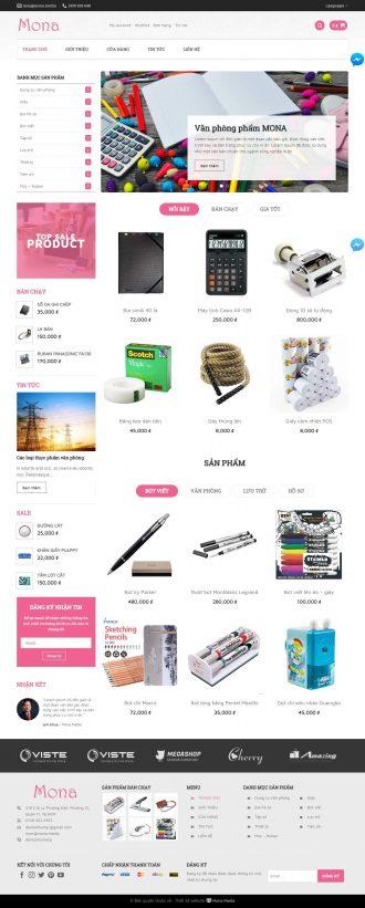 Mẫu website giống Stationery - văn phòng phẩm