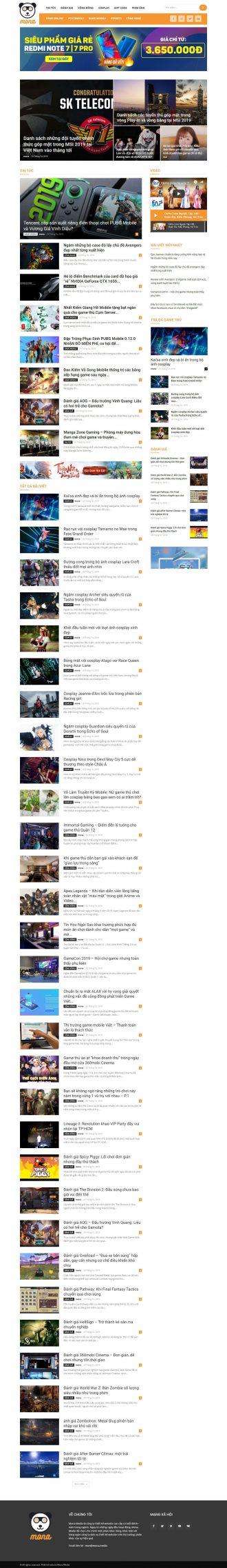 Mẫu website tin tức Motgame