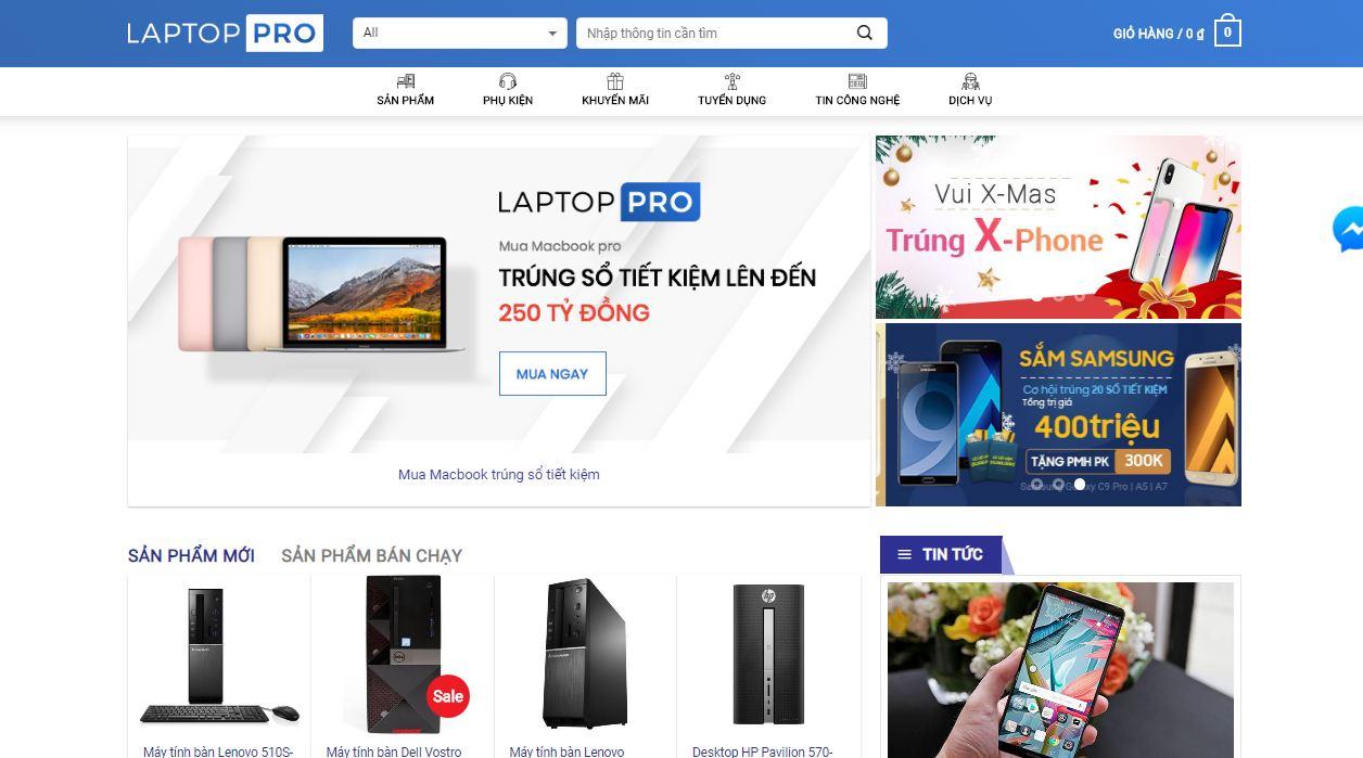 Mẫu thiết kế website bán hàng laptop - đồ điện tử tại Mona