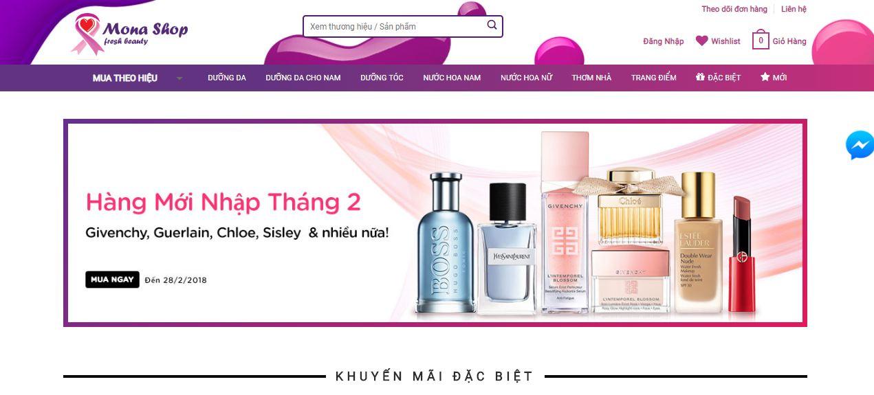 Mẫu thiết kế web bán hàng mỹ phẩm tại Mona