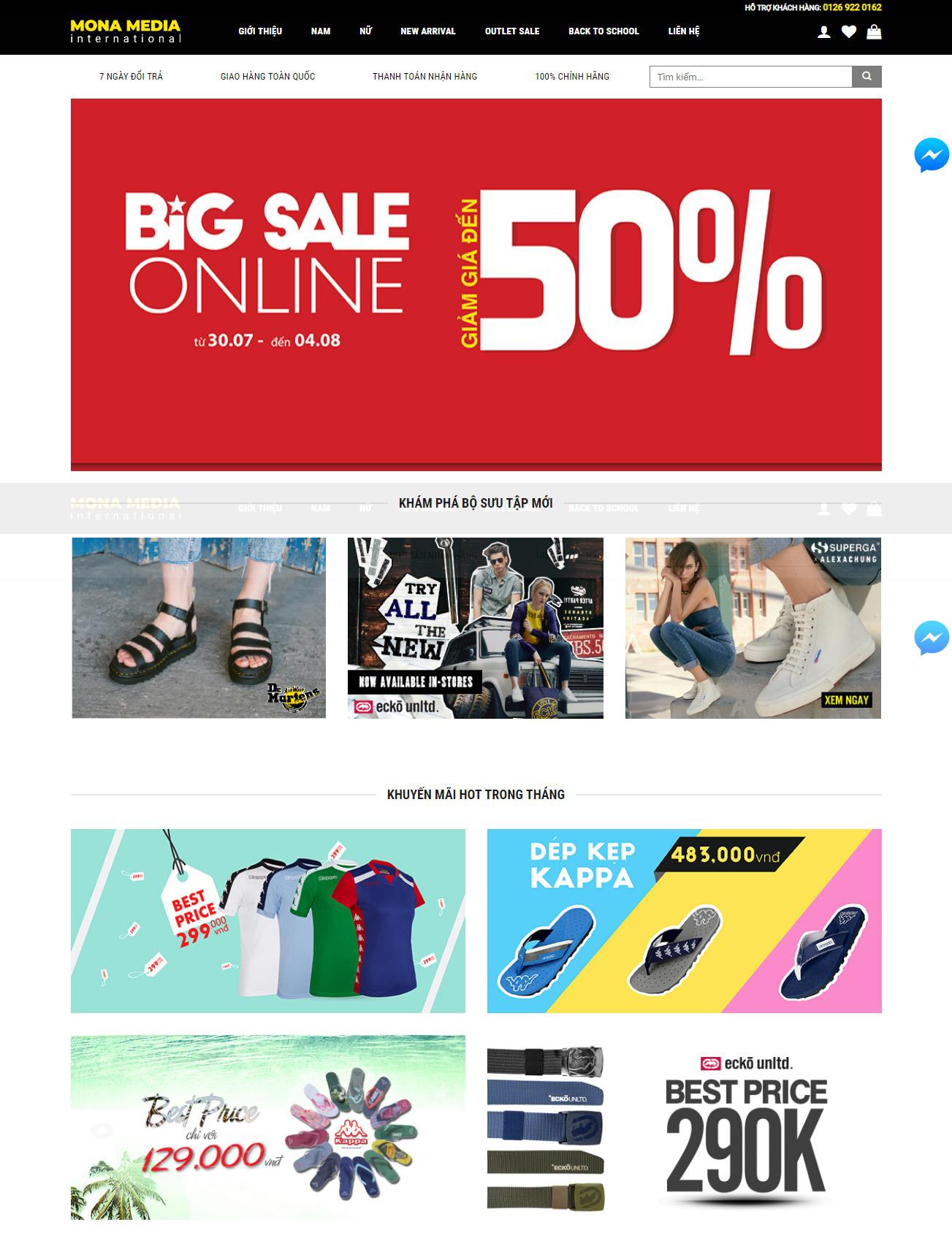 Mẫu thiết kế website bán hàng thời trang tại Mona