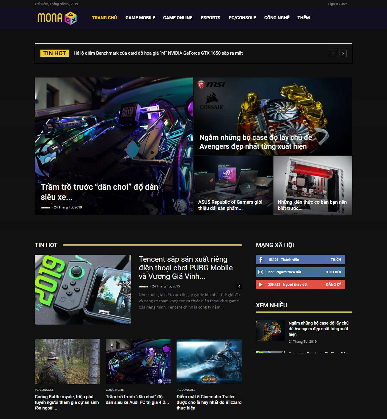 Thiết kế website tin tức game Hub tại Mona Media