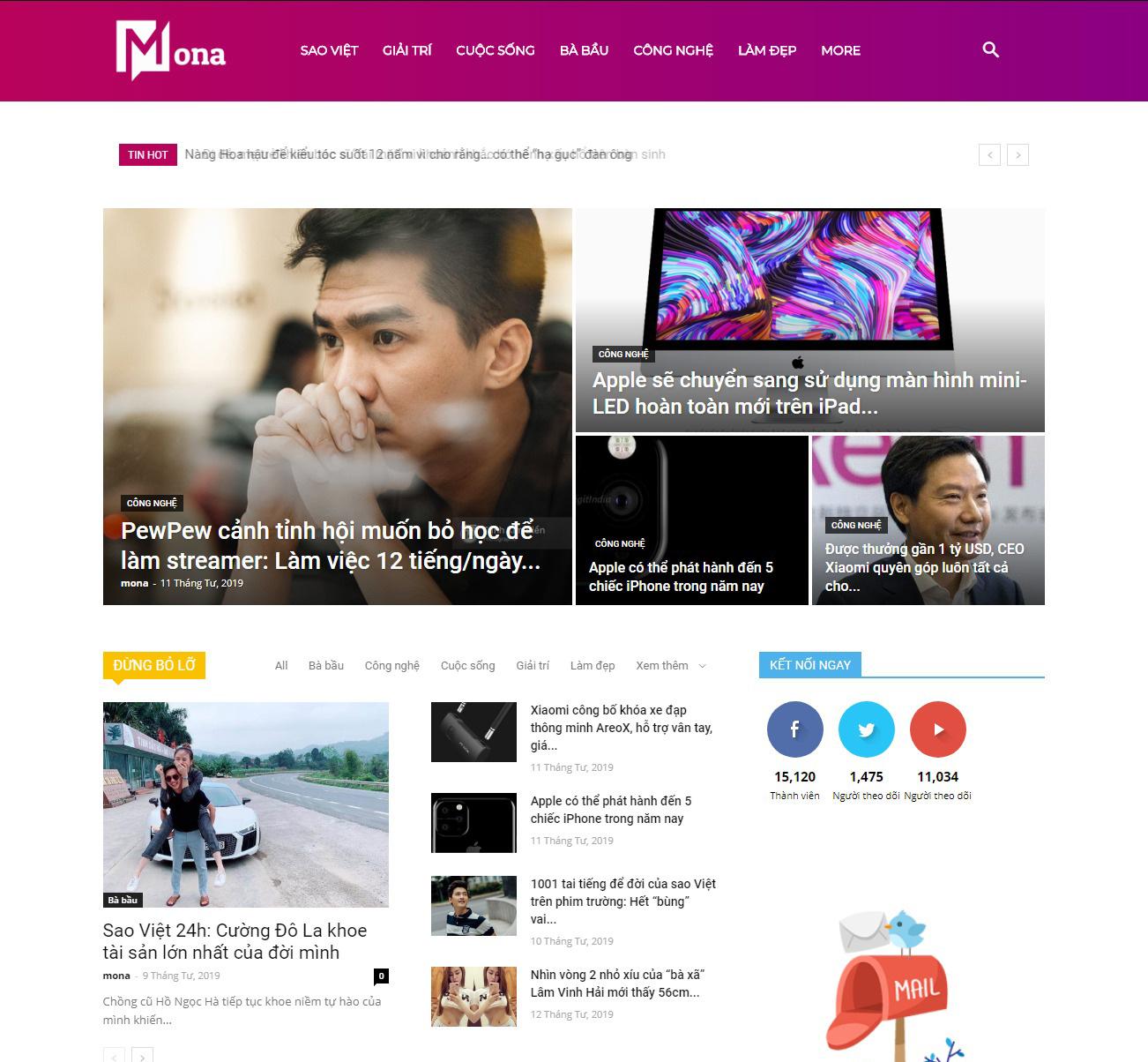 Thiết kế web tin tức Eva - tin giải trí - cuộc sống