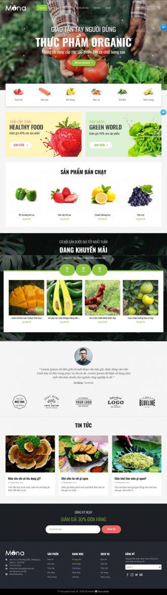 Mẫu website giống Vườn Rau - bán thực phẩm hữu cơ