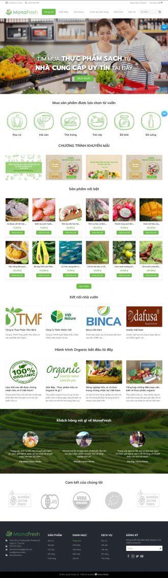 Mẫu website giống Happy Trade - bán thực phẩm sạch