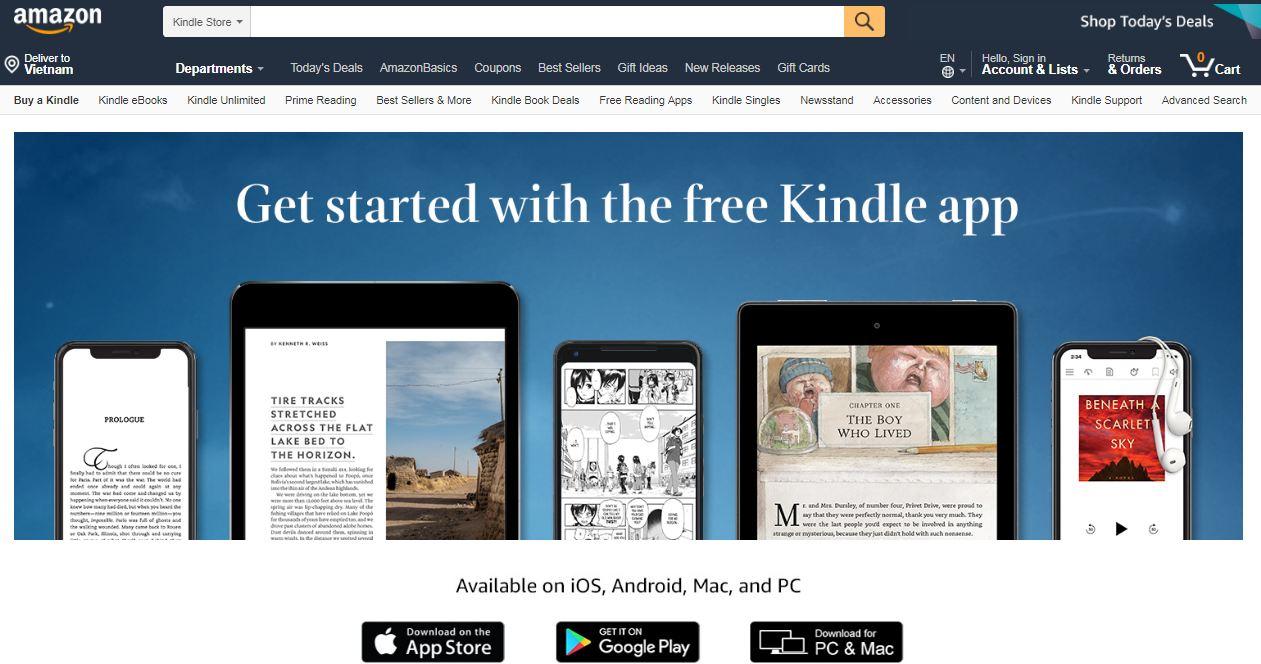Amazon Kindle App - ứng dụng đọc sách của Amazon