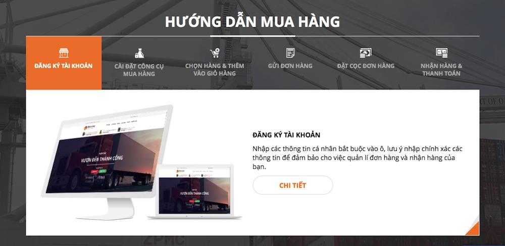Bản demo thiết kế website đặt mua hàng Trung Quốc