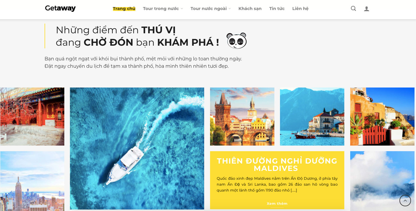 Trang giới thiệu web du lịch